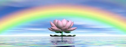 Lotus flower under rainbow - 3D render. Beautiful pink lotus flower on water and under rainbow and cloudy blue sky Stock Photo
