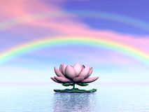 Lotus flower under rainbow - 3D render Royalty Free Stock Image