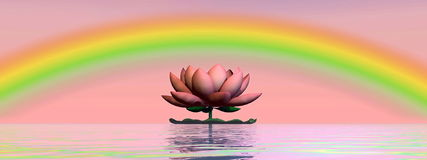 Lotus flower under rainbow - 3D render Stock Images