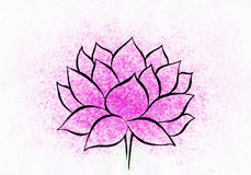 Lotus flower watercolor hand-drawn painting. It is watercolor horizontal hand-drown painting of pink lotus on a white background with splashes of pink paint Royalty Free Stock Photo