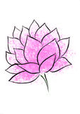 Lotus flower watercolor hand-drawn painting. It is watercolor vertical hand-drown painting of pink lotus on a white background with splashes of pink paint Stock Photography