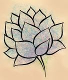 Lotus flower watercolor hand-made painting. A watercolor hand-made painting of blue lotus flower with green branch. It is painted on a biege background. Flower Royalty Free Stock Image