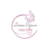 Lotus Flower Yoga Beauty Center Logo Vector Design Royalty-vrije Stock Afbeeldingen