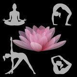 Lotus flower and yoga positions illustration Royalty Free Stock Photography