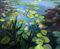 Lotus Flowers. Colorful pond with beautiful lotus flowers and the sky reflection on the water surface, painted on the canvas by me, Kiril Stanchev Royalty Free Stock Images