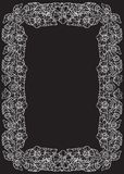 Lotus flowers arranged in intricate rectangular frame. Popular decorative motif in South-Eastern Asia. Tattoo design. Linear drawing isolated on black Stock Photography