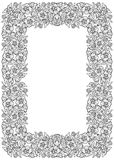 Lotus flowers arranged in intricate rectangular frame. Popular decorative motif in South-Eastern Asia. Tattoo design. Linear drawing isolated on white Royalty Free Stock Photos