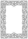 Lotus flowers arranged in intricate rectangular frame. Popular decorative motif in South-Eastern Asia. Tattoo design. Linear drawing isolated on white Stock Photography