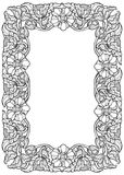 Lotus flowers arranged in intricate rectangular frame. Popular decorative motif in South-Eastern Asia. Tattoo design. Linear drawing isolated on white Royalty Free Stock Photo
