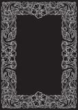 Lotus flowers arranged in intricate rectangular frame. Popular decorative motif in South-Eastern Asia. Tattoo design. Linear drawing isolated on black Stock Photo