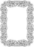Lotus flowers arranged in intricate rectangular frame. Popular decorative motif in South-Eastern Asia. Tattoo design. Linear drawing isolated on white Royalty Free Stock Image