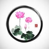 Lotus flowers in black enso zen circle Stock Photo