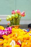 Lotus flowers and blossoms and garlands of orchids Royalty Free Stock Photography