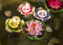 Lotus flowers with candles 3 Stock Images