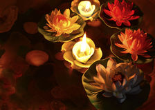 Lotus flowers with candles 2 Royalty Free Stock Photos