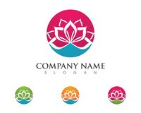 Lotus flowers design logo Template. Beauty Vector Lotus flowers design logo Template icon Royalty Free Stock Images