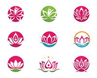 Lotus flowers design logo Template icon. Beauty Vector Lotus flowers design logo Template icon Stock Photography