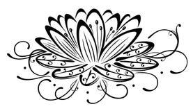Lotus, flowers. Filigree lotus flower, black vector Stock Photo