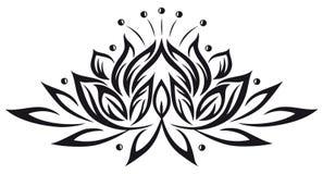 Lotus, flowers. Filigree lotus flower, black vector