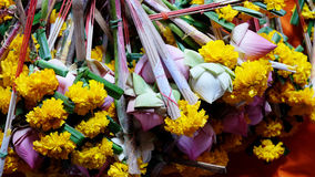 Lotus flowers, incense and candles Royalty Free Stock Photo
