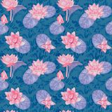 Lotus flowers and leaves and curly water waves, seamless pattern design, hand painted watercolor on blue background. Top view vector illustration