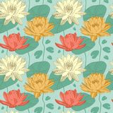 Lotus flowers in seamless pattern Stock Photo