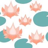Lotus Flowers Seamless Pattern op Wit, Lotuses Herhaald Patroon Backround stock illustratie