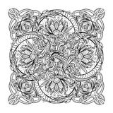 Lotus flowers and snakes arranged in an Intricate cross shaped pattern isolated on black background. Lotus flowers and snakes arranged in an Intricate vector illustration