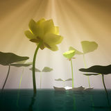 Lotus in fog. 3d white lotus in the mist Royalty Free Stock Image