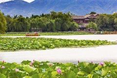 Lotus Garden Boat Buildings Summer Palace Beijing, China Stock Photos