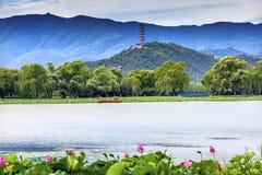 Lotus Garden Yue Feng Pagoda-de Zomerpaleis Peking China royalty-vrije stock foto's