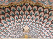 Lotus Gate em Chandra Mahal, palácio da cidade de Jaipur Fotografia de Stock