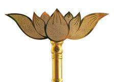 Lotus-gevormd metaalgoud op een witte achtergrond stock foto