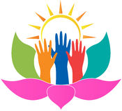Lotus händer royaltyfri illustrationer