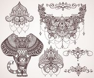 Lotus hamsa, elefant, Ganesha Mihendi stil vektor illustrationer