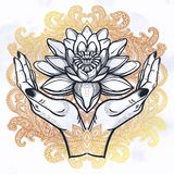 Lotus in hands . Hand drawn beautiful lotus flower in hands. Water lily motif, spiritual art for tattoo, boho - symbol of harmony, wisdom, love. Isolated vector royalty free illustration