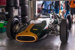 Lotus historic formula car. Historic racing car photographed during Brno Grand Prix Revival event on 5 July 2014 in Automotodrom Brno, Czech Republic Royalty Free Stock Photos