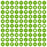 100 lotus icons hexagon green. 100 lotus icons set in green hexagon isolated vector illustration Royalty Free Stock Images
