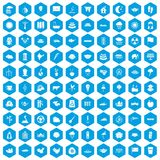 100 lotus icons set blue. 100 lotus icons set in blue hexagon isolated vector illustration stock illustration
