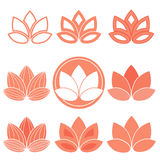 Lotus icons. Set of flat lotus flower icons. Vector eps10 Stock Images