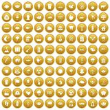 100 lotus icons set gold. 100 lotus icons set in gold circle isolated on white vectr illustration Royalty Free Stock Photography
