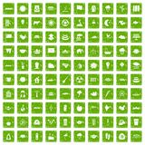 100 lotus icons set grunge green Royalty Free Stock Image