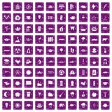 100 lotus icons set grunge purple. 100 lotus icons set in grunge style purple color isolated on white background vector illustration Vector Illustration