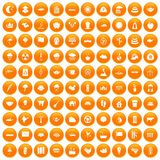 100 lotus icons set orange. 100 lotus icons set in orange circle isolated vector illustration Royalty Free Illustration