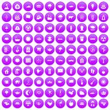 100 lotus icons set purple. 100 lotus icons set in purple circle isolated vector illustration Royalty Free Stock Photos