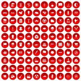 100 lotus icons set red. 100 lotus icons set in red circle isolated on white vectr illustration Royalty Free Stock Photography