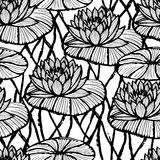 Lotus ink hand drawn seamless pattern/Black and white water lily Royalty Free Stock Photos