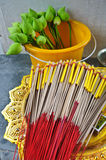Lotus and joss stick for pray Stock Photo