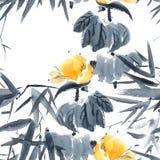Lotus-knop en bamboepatroon stock illustratie