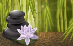 Lotus, kuuroordrotsen, de achtergrond van het Bamboe Stock Afbeeldingen